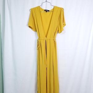 Lulu's Beachwear Yellow Maxi Wrap Dress